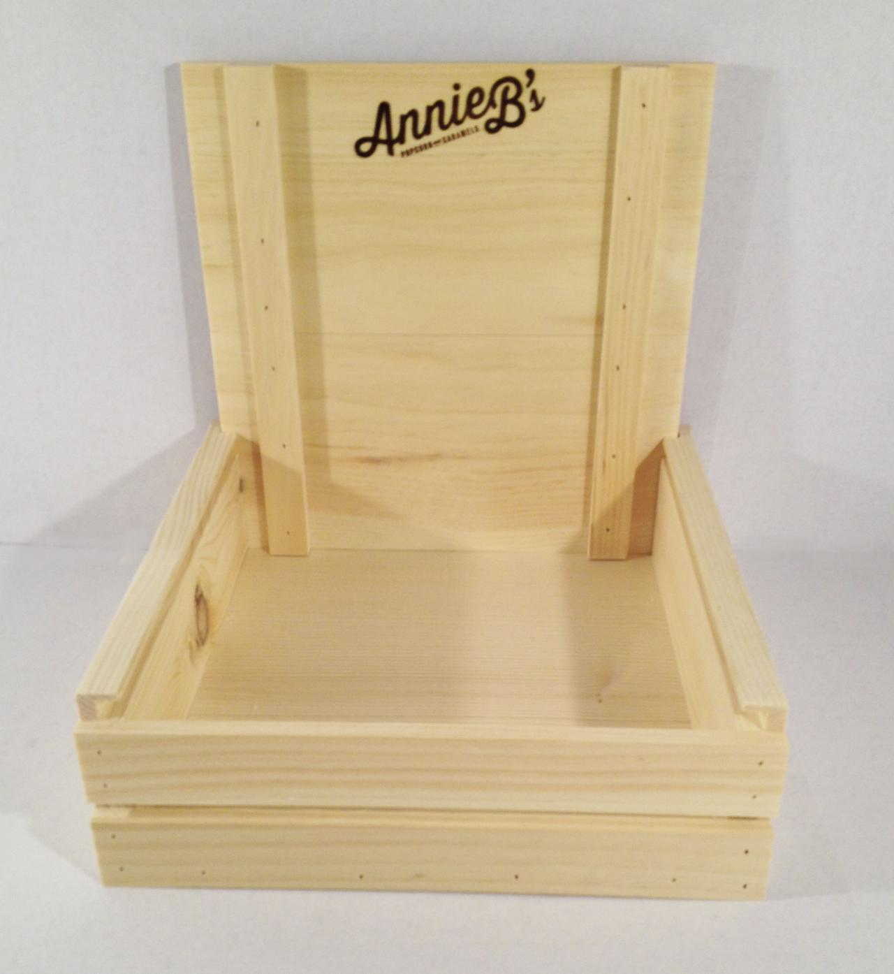 Annie B Caramel Candy Rustic Crate With Cover Wood Counter POP Display Branded