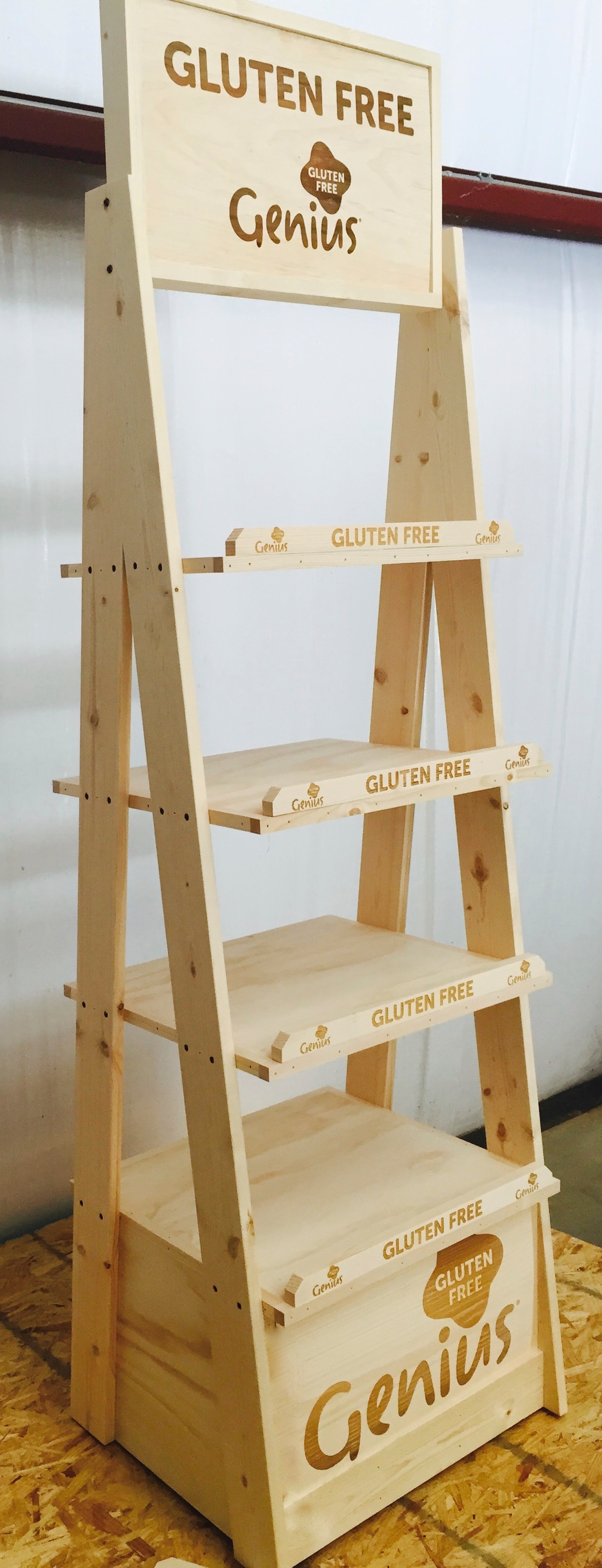 Rustic Wood Retail Store Product Display Fixtures Shelving Wood Floor Display Merchandisers Stands For Retail Product