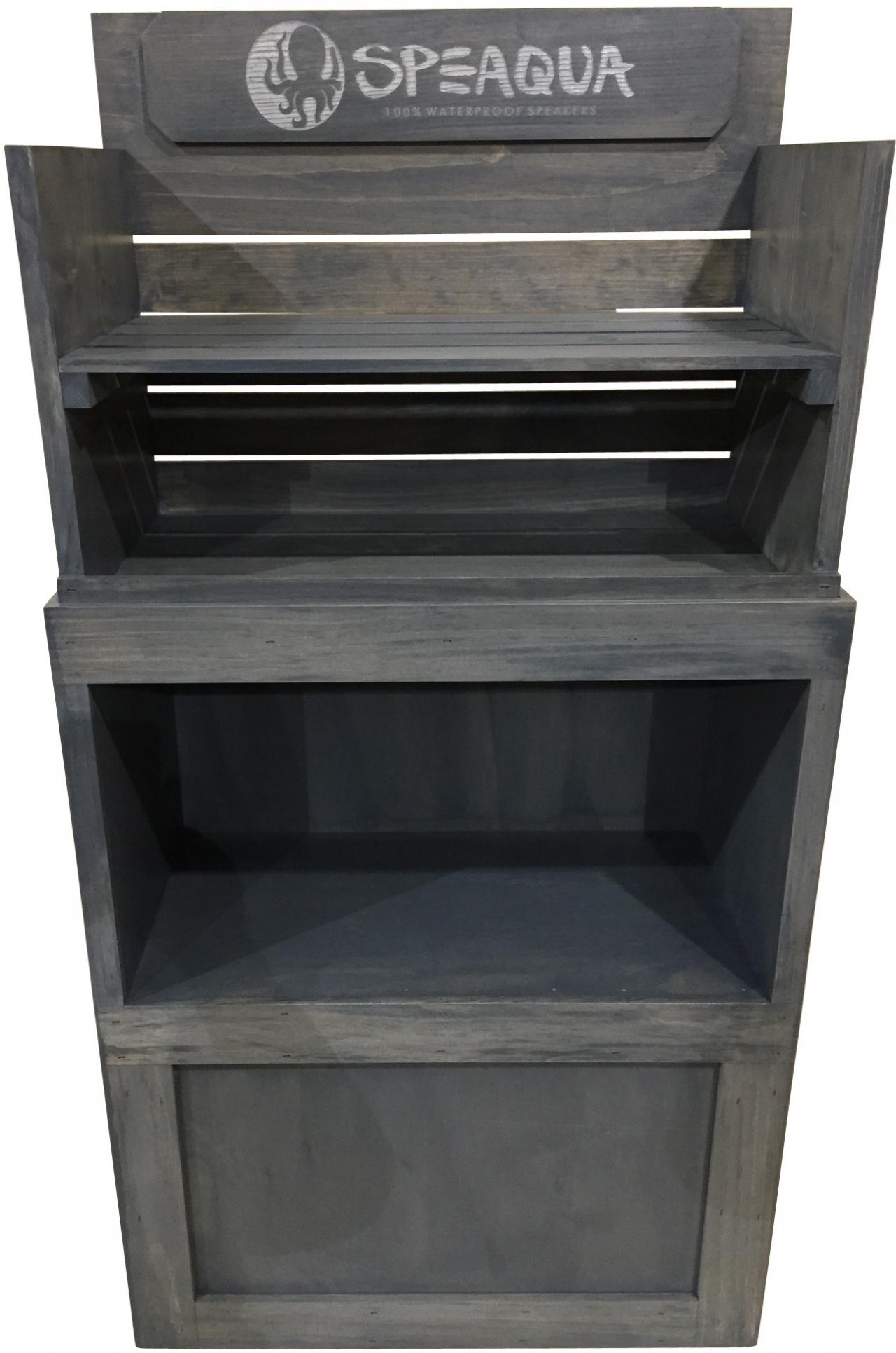 ... Rustic Wood Speaqua Shelf Merchandiser Best Buy Gray Floor Product  Display ...