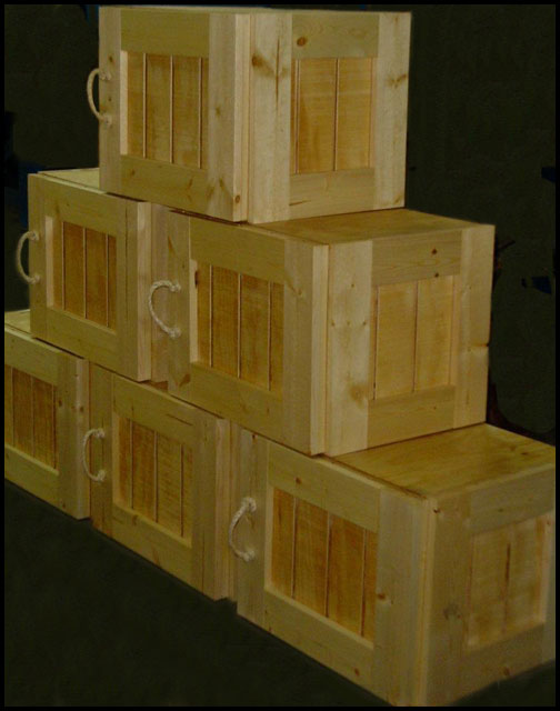 retail display crates wood