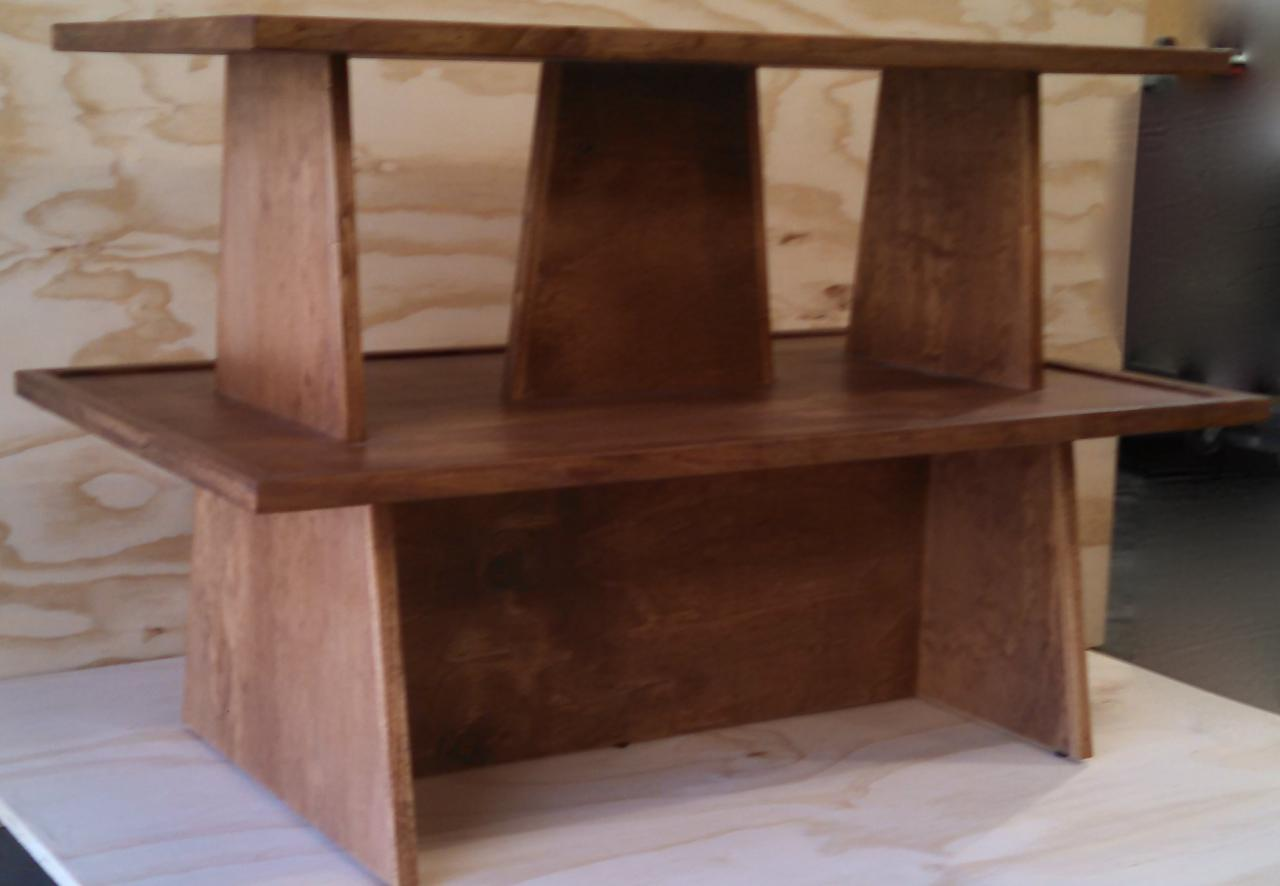 ... Rustic Wood 2 Shelf Double Riser Tabletop Gondola Display ...