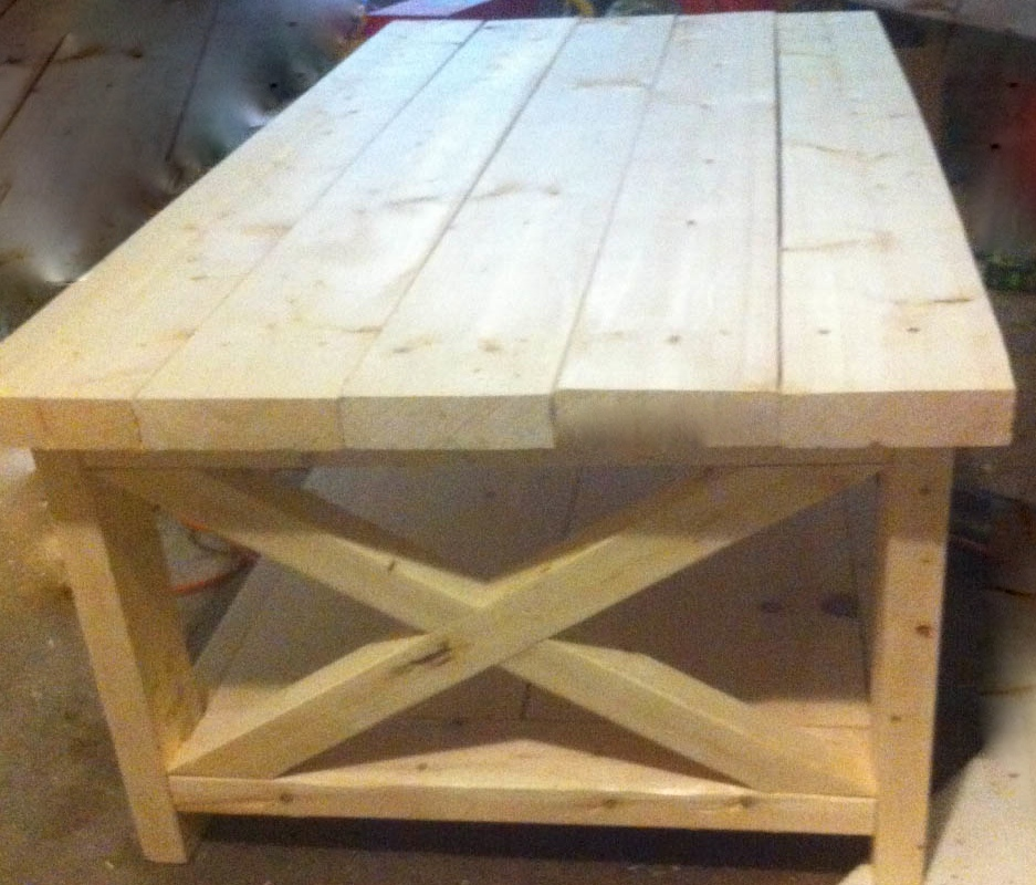 ... Rustic Wood Pine Board Display Table X Sides ...