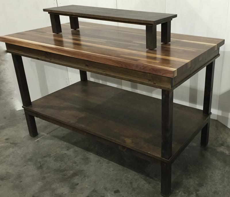 Captivating Rustic Wood Retail Display Table Shelf Smaller Riser